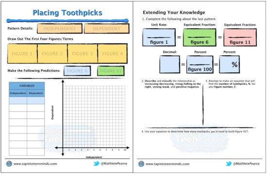 Placing Toothpicks 3 Act Math Task Template