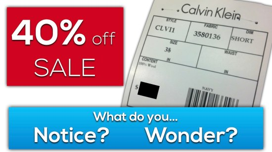 Calvin's Clearance 3 Act Math Task - What Do You Notice? Wonder?