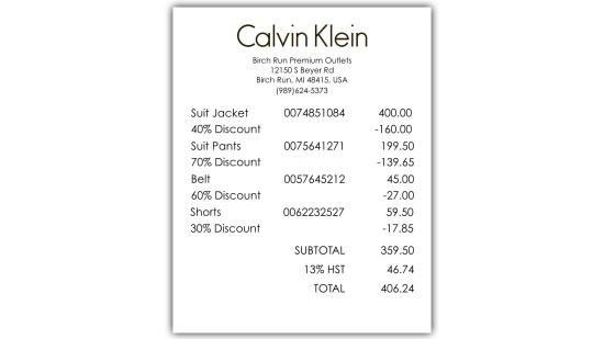 Calvins Clearance - Act 3 - Receipts 3