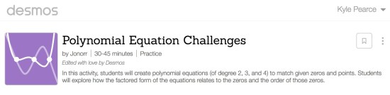 Desmos Polynomial Equation Challenges