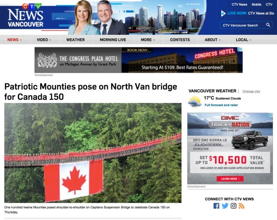 Patriotic Mounties pose on North Van bridge for Canada 150