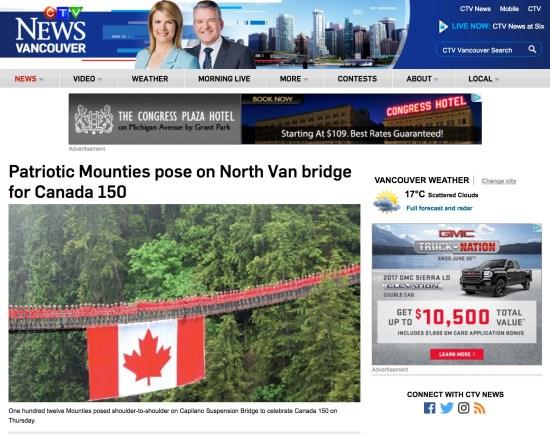 Patriotic Mounties pose on North Van bridge for Canada 150