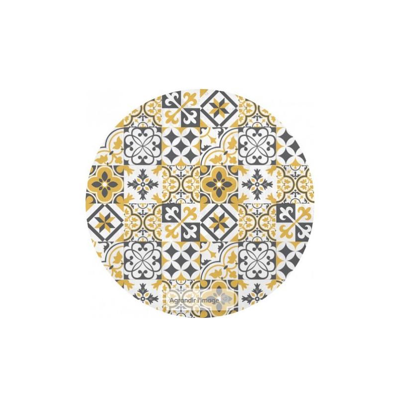 tapis rond motif carreaux de ciment en