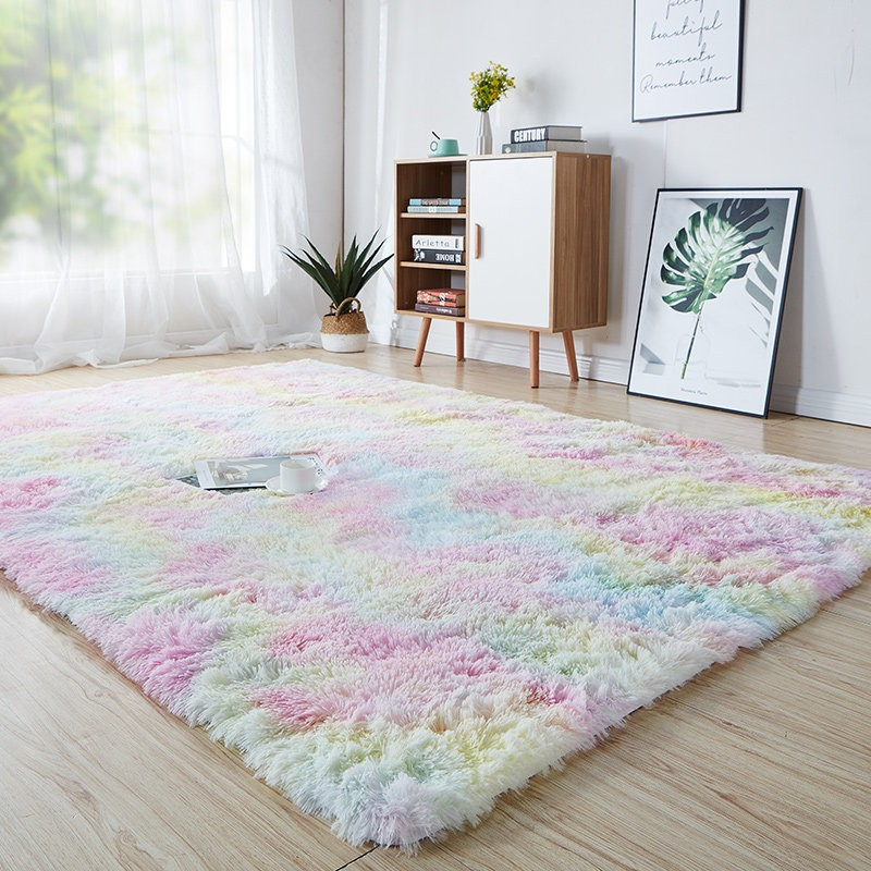 acheter tapis shaggy multicolore a pas