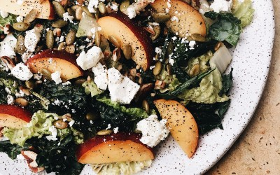 Cabbage, Kale & Nectarine Salad