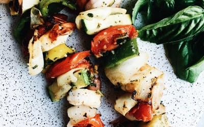 Grilled Summer Vegetable and Shrimp Kabobs