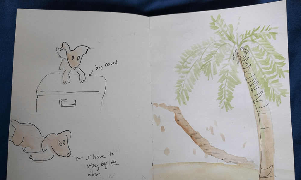Observing surroundings and sketching them