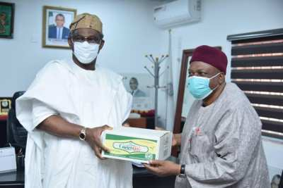 Gov. Ishaku visits the Minister of Mines and Steel Development, Arc. Olamilekan Adegbite.