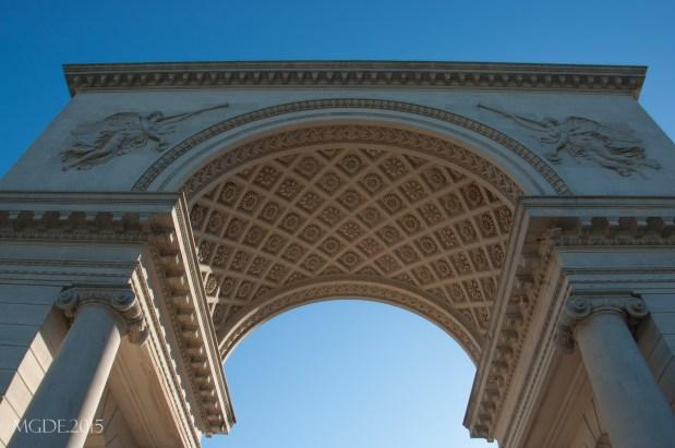 The Arc de Triomphe replica serve as a the main gate of the art museum complex.