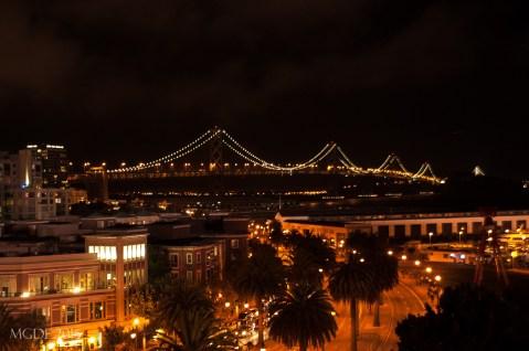 Illuminated Bay bridge as seen from AT&T Park
