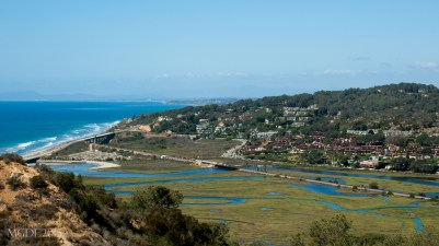 View of Soledad Lagoon from Torrey Pines State Reserve, where the lagoon meets the ocean.