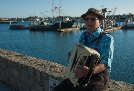 Street performer along boardwalk