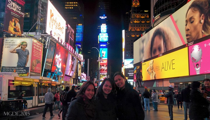 At Times Square with my gorgeous AS sisters, Aimee and Dulce.