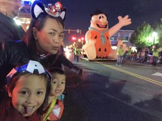 Having fun with Ms America and Ironman at Hallooween Parade