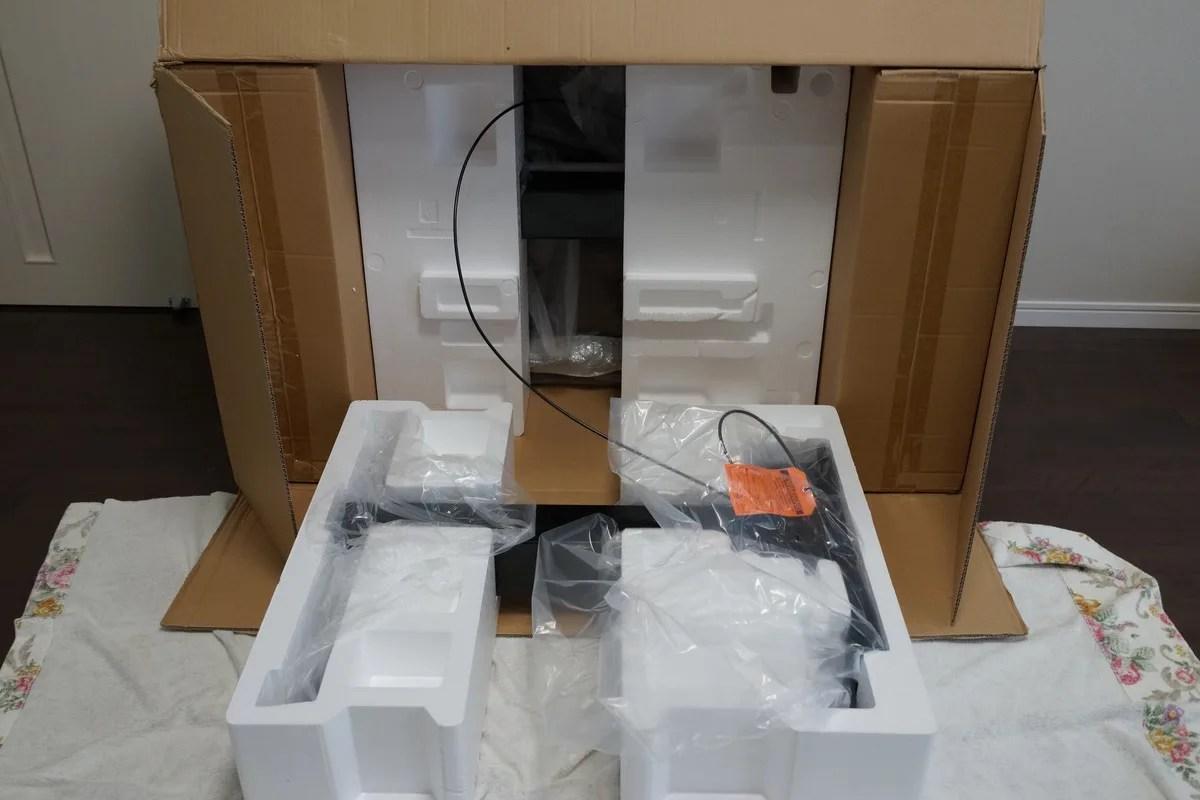 エルゴトロン WorkFit-D 座位・立位両用 昇降デスク組立方法 段ボール箱のあけかた参考画像