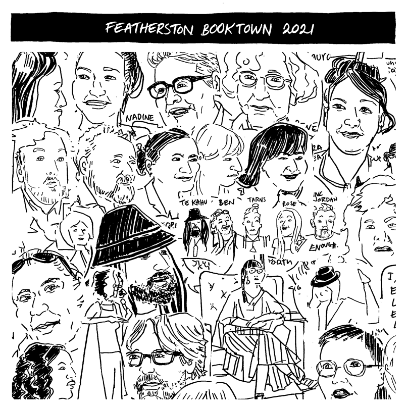 Featherston Booktown 2021 header with collage of drawings