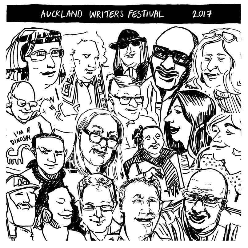 Collage of Tara Black's drawings, made at Auckland Writers Festival 2017