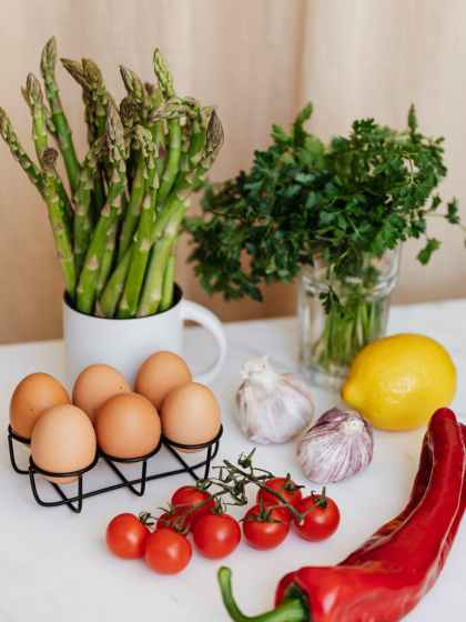 composition of fresh ingredients for healthy breakfast