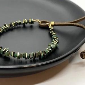 Emerald gold leather adjustable bracelet