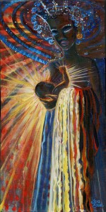 Cosmic black madonna holding infant with rays of light and a waterfall of light and color draped over the arm that holds the baby.