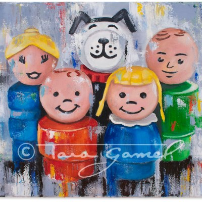 A Little Character Goes a Long Way 24x18 original oil on canvas. Classic People toys recreated in pop art style.