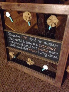 Old farmhouse window repurposed for wedding memory board, custom designed with chicken wire panels