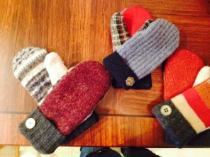 Mittens made from old sweater scraps, lined with fleece
