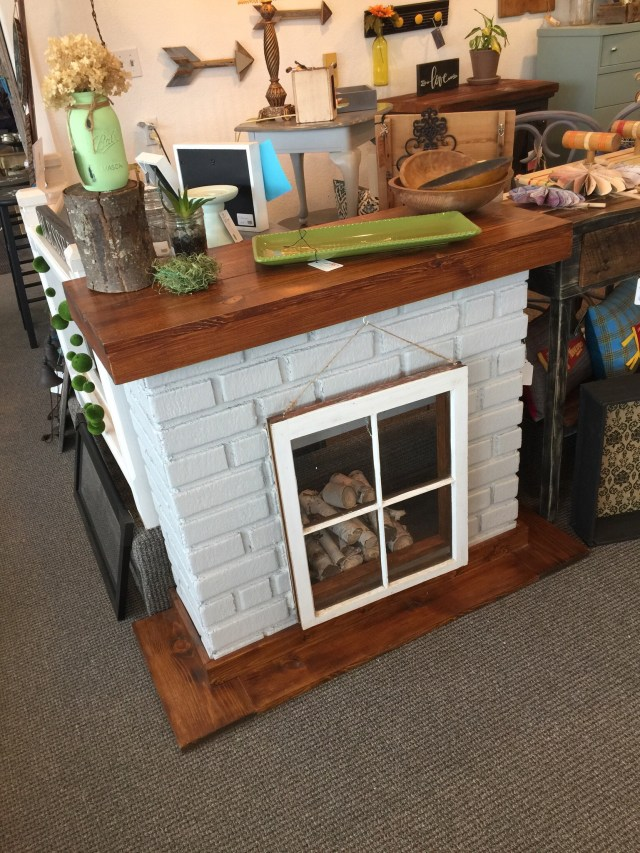 brick faux fireplace  old window