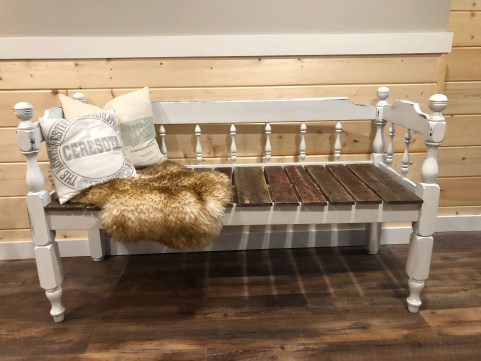 Upcycled bed into a bench complete