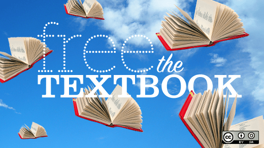 "text: ""free the textbook"" over a blue sky with white clouds and open books that look like they're flying"
