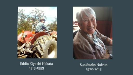 old Japanese man on a tractor: Eddie Kiyoshi Nakata 1915-1995. old smiling Japanese woman: Sue Sueko Nakata 1920-2015