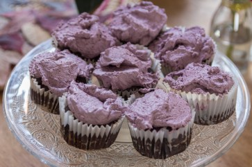 Acai Flourless Chocolate Cakes with Acai Whipped Cream
