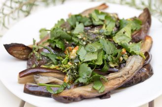 Roasted Aubergine with Kale Pesto