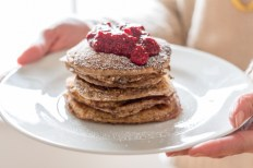 Oat Pancakes with Raspberry Chia Jam