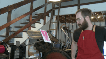 Ryan Tempro, 26, in his letterpress shop in St. Augustine, Florida on Monday, February 13, 2017. Tempro is a Flagler College graduate, and he currently works for Yield Design Co. and owns his own company, M.C. Pressure. He specializes in creating products by using his variety of letterpresses.