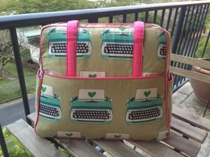 Melody Miller typewriter weekender bag