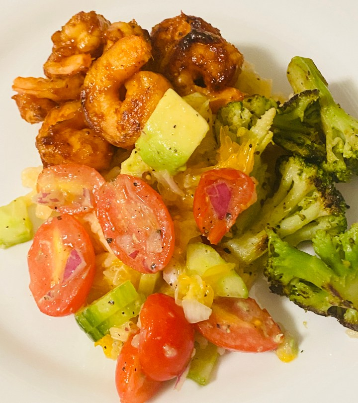 BBQ Shrimp Over Rice with Broccoli and Citrus Salsa