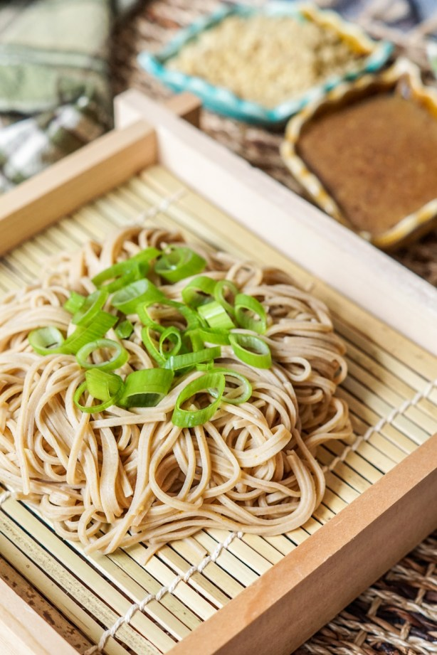 Kurumi Soba (Soba with Walnut Dipping Sauce) topped with green onions.