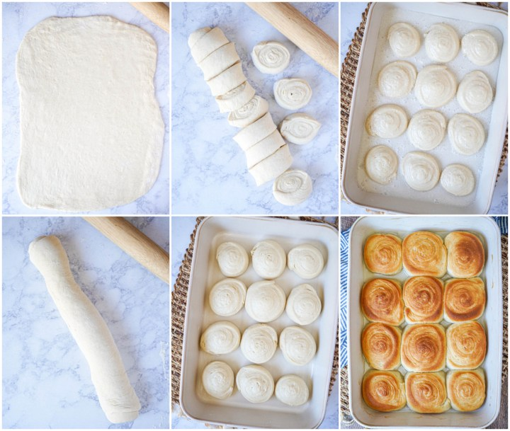 Rolling out the Pani Popo (Samoan Sweet Coconut Buns) dough, cutting into buns, arranging in the pan, and baking until golden.