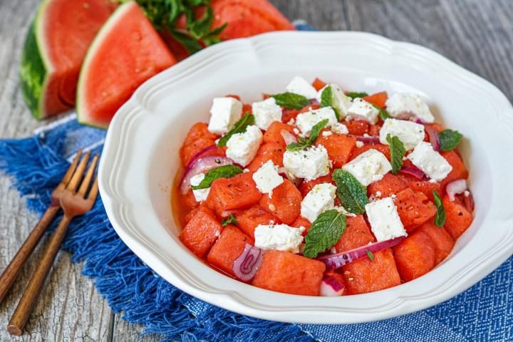 Karpouzi me Feta (Greek Watermelon with Feta) in a large white serving bowl.