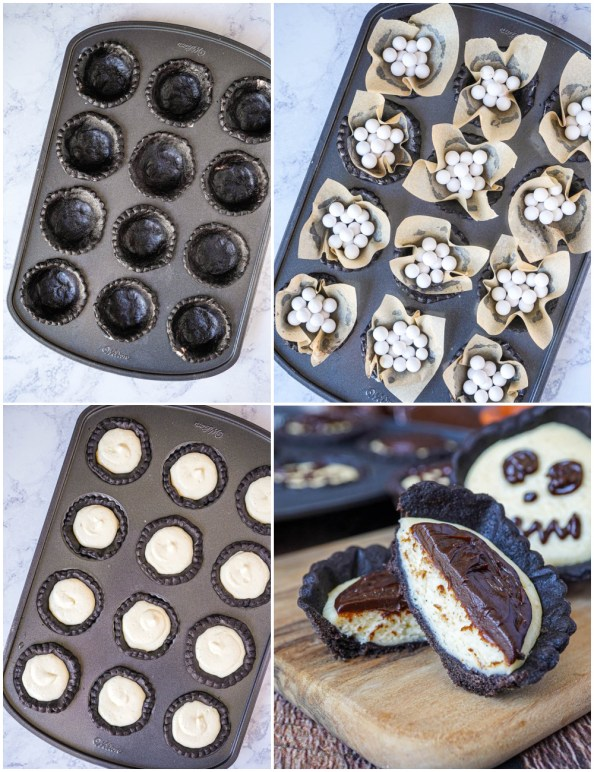 Four photo collage of Cheesecake Tartlets with Chocolate Ganache in pan with crust, pie weights, and filling.
