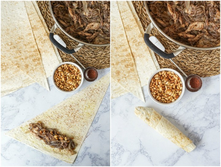 Rolling up the Musakhan Wraps (Palestinian Chicken Wraps). First photo with filling on the flatbread next to pine nuts, sumac, and chicken/onions in a pan. Second photo of the Musakhan Wrap rolled up.