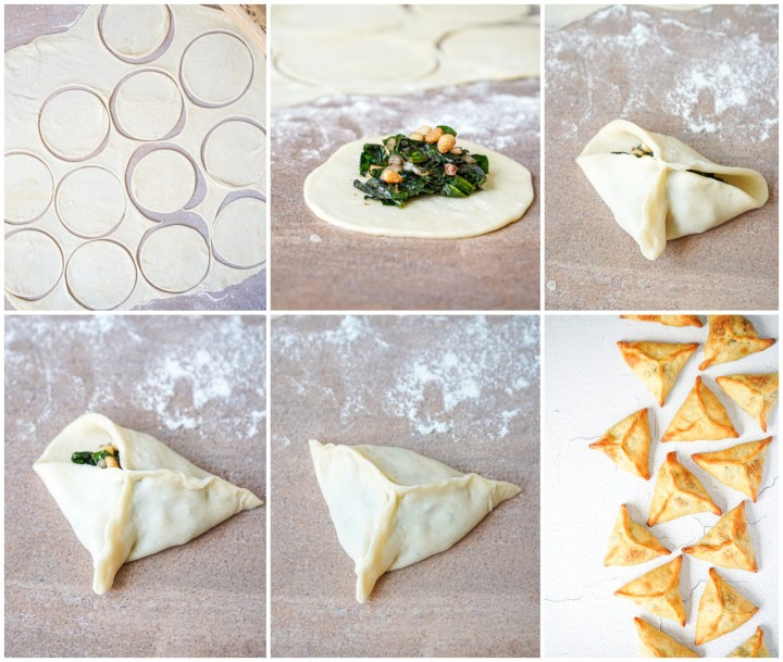 Cutting out circles of dough, filling with spinach, and assembling Fatayer bi Sabanekh (Lebanese Spinach Pies).