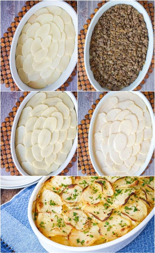 Layering potatoes and meat in a white oval dish for Serbian Potato Musaka.