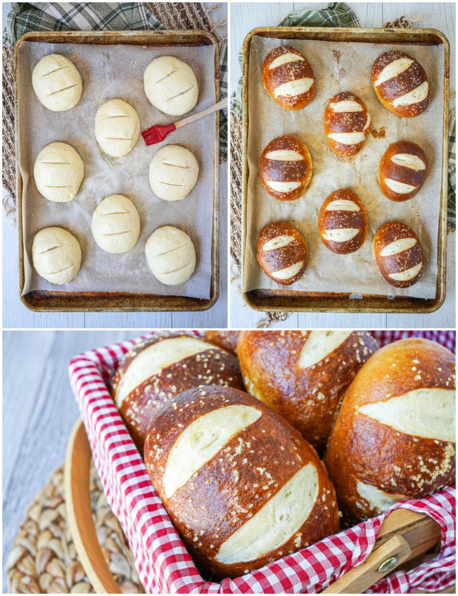 Three photo collage of Silserli (Swiss Pretzel Rolls) on a baking sheet and in a red picnic basket.