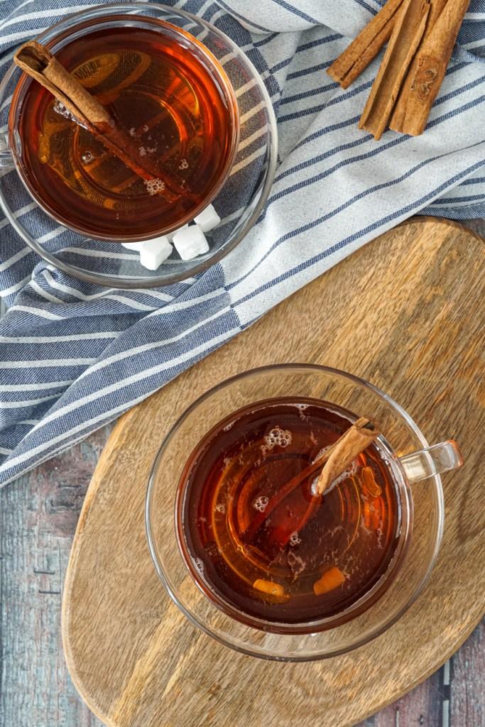Sudanese Cinnamon Tea in two glasses