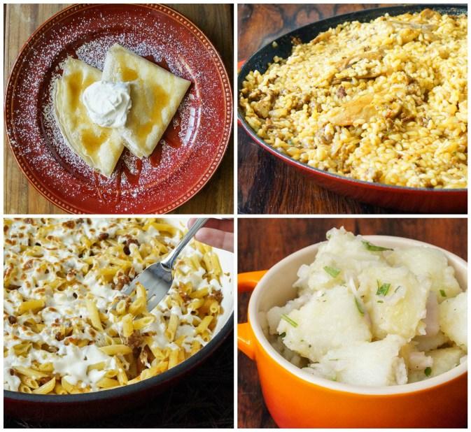 Other dishes from Spain: Filloas de Leche con Nata Montada y Miel, Arroz de Montaña, Macarrones Gratinados, and Papas Aliñás.