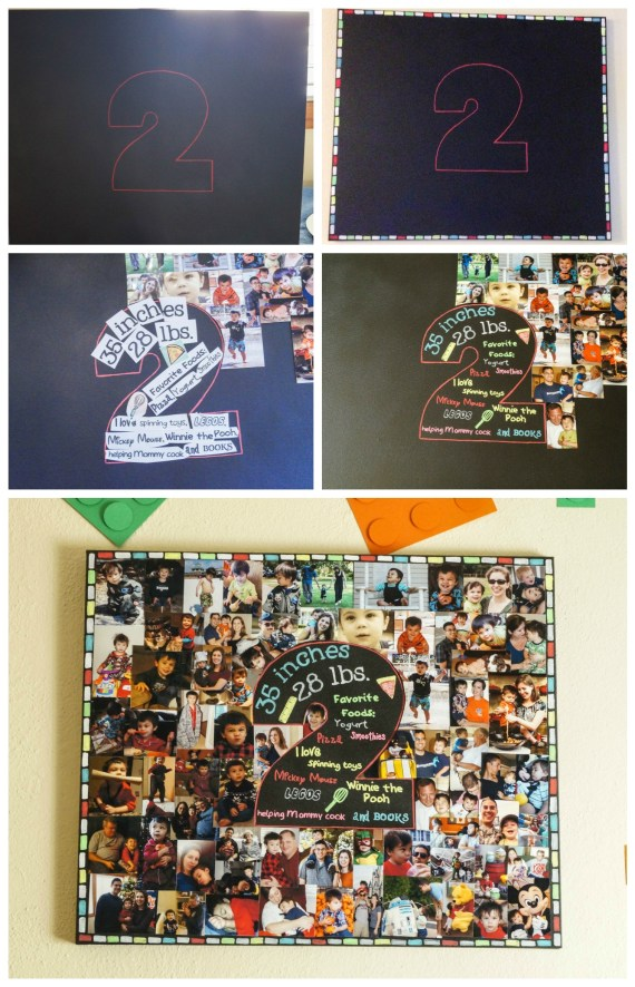 Second birthday chalkboard with 2 in center and surrounded by photo collage.
