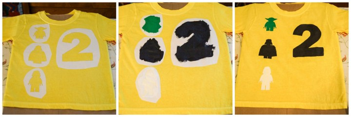 Yellow shirt with 2 next to outlines of Yoda, Darth Vader, and Storm Trooper.