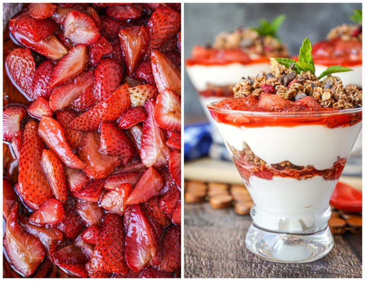 Roasted strawberries on a pan and Roasted Strawberry Parfaits in three clear glasses.